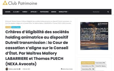 Critères d'éligibilité des sociétés holding animatrice au dispositif Dutreil transmission : la Cour de cassation s'aligne sur le Conseil d'État
